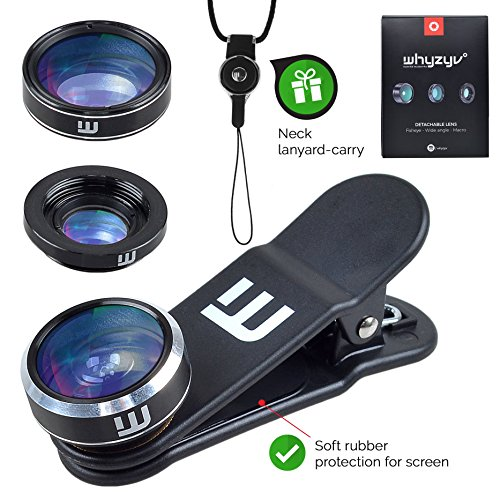 Whyzyv - Best phone camera Lens Kit 3 in 1 Clip-on for iPhone 5/6/7 Plus, Samsung S6/S7/S8, LG, Huawei, HTC, MacBook & smartphone. Fisheye, wide angle, macro lens, travel bag, neck lanyard-carry