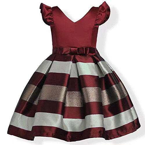 ZaH Girl Dress Kids Ruffles Lace Party Wedding Bridesmaid Dresses(Burgundy,7-8Y)