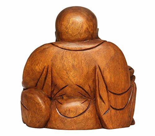 G6 COLLECTION 8'' Wooden Laughing Happy Buddha Handmade Art Statue Handcrafted Sculpture Home Decor (Small) by G6 Collection (Image #4)