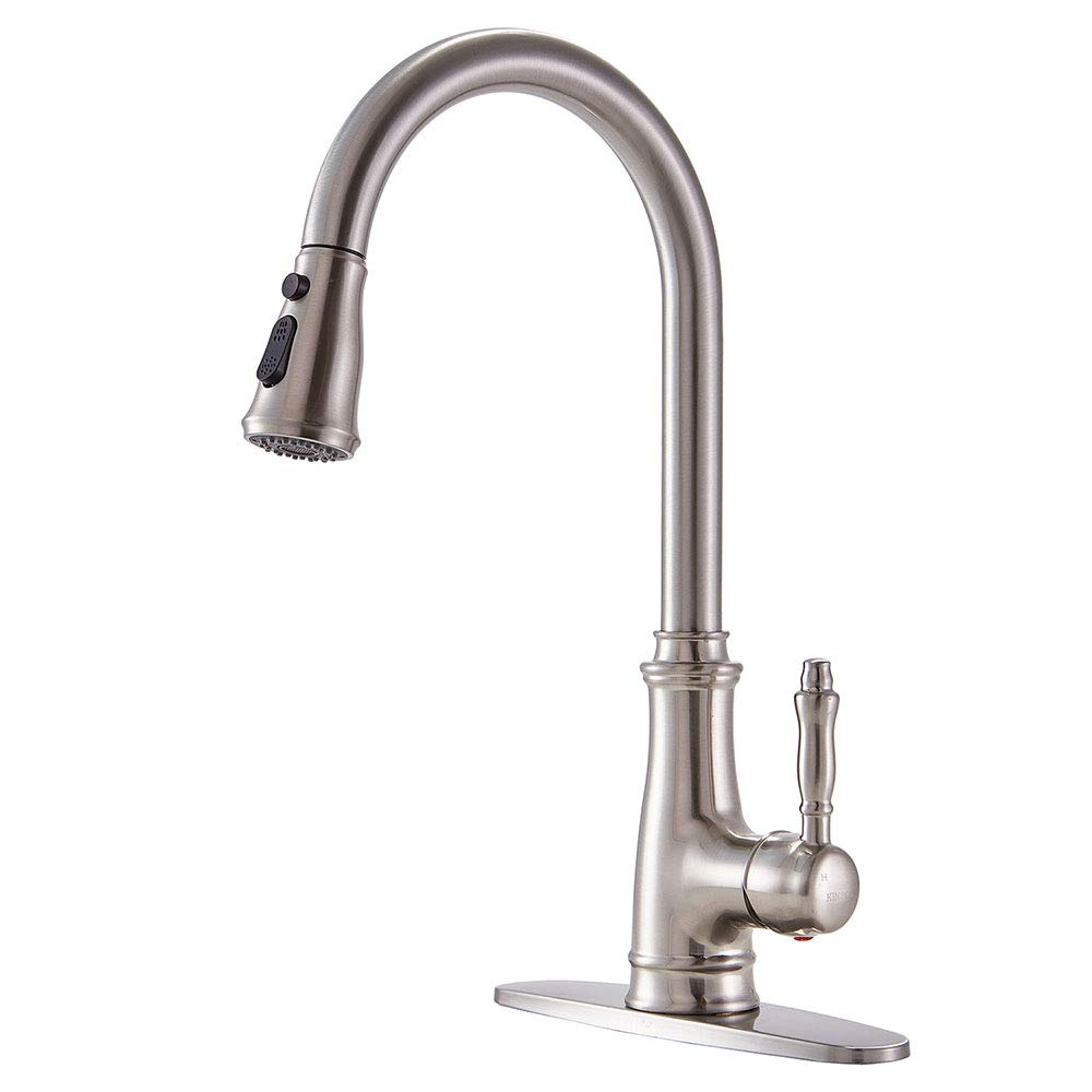KINGO HOME Commercial Lead Free Stainless Steel Single Lever Handle Pull Down Sprayer Brushed Nickel Kitchen Faucet, Kitchen Sink Faucet With Deck Plate