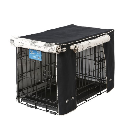 Crate Covers and More Double Door 22 Pet Crate Cover, Black Twill with Parisian Black by Crate Covers and More