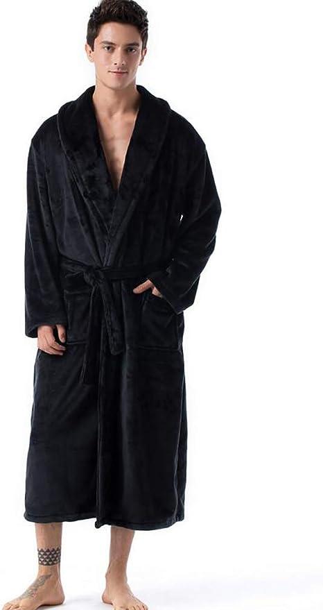 Wrap Lunga in Pile Corallo Vestaglia Notte-Robe Sleepwear SPA Accappatoio Per Uomini Donne
