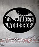 Workshop Woodworker - Custom Metal Shop Sign - Metal Wall Art Great Gift Made In USA Carpentry Wood Worker Steel Sign