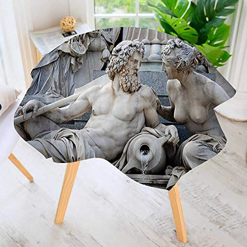 100% Polyester Printed Table Cloth-Male and Female Statues Athena Fountain in frt of The Building of Austrian Parliament Ideal for Home, Restaurants, Cafés 50