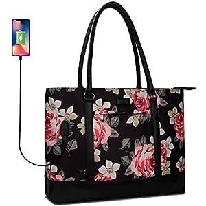 MONSTINA Laptop Tote Bag,15.6 Inch Laptop Bag for Women Teacher,Large Laptop Organizer Bag with USB Port,Waterproof Briefcase Shoulder Bag for Work Black-2