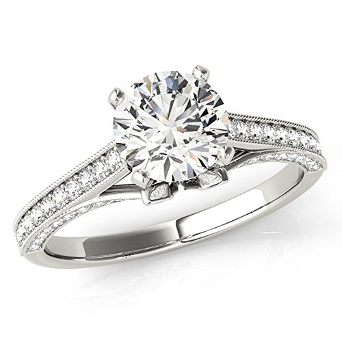 Scintilenora Classic Tapered GIA Cerified Diamond Engagement Ring 18k Gold 1 1/3 TDW