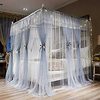 Joyreap 4 corners post canopy bed curtains for - Bed canopies for adults ...