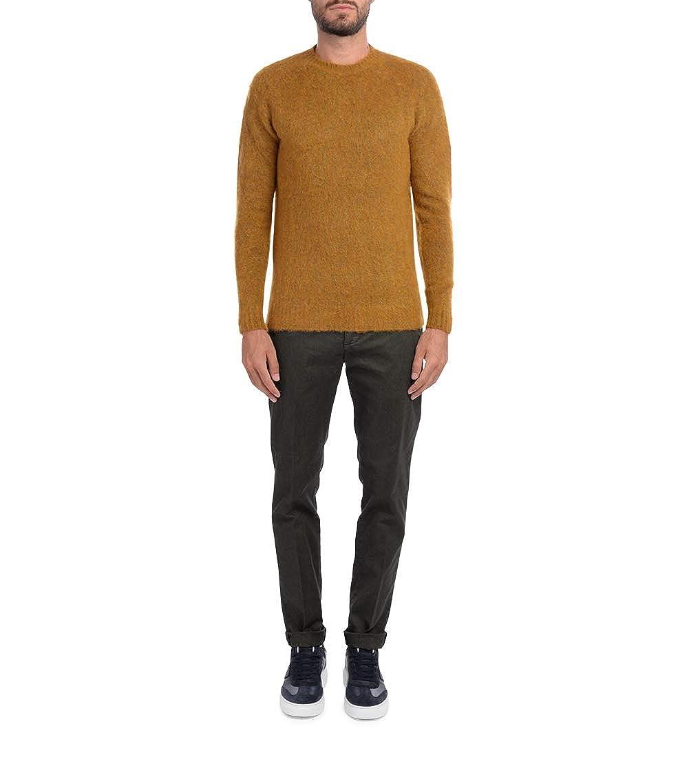 Dondup Mens Gaubert Green Trousers with Black Micro Pattern