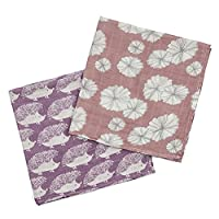 Milkbarn Organic Burp Cloths, 2 Pack (Purple Hedgehog and Rose Flower)
