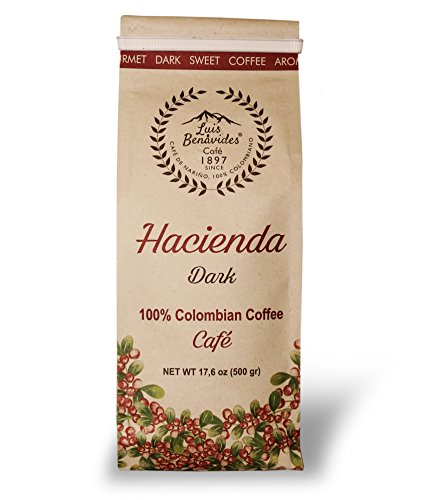 Luis Benavides Hacienda Dark Coffee 17.6 Oz/1 Lb. Ground, Dark Roast. Nariño Origin. Excellent 85-87.5 points. Volcanic soil grown 100% Colombian - Coconut Point Shops