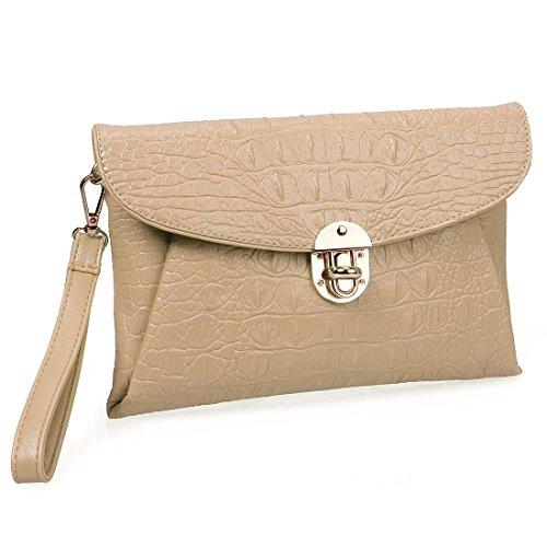 BMC Womens Peachy Tan Faux Crocodile Skin Textured PU Leather Envelope Flap Fashion Clutch Handbag Image