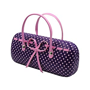 Trendy Mini Handbag Eyeglass Case | for Medium Frames Women and Girls | Hard Protective clamshell with Microfiber cleaning cloth | Polka Dots Purple (AS12TG)