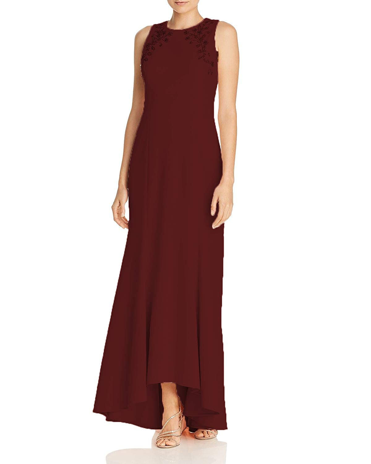 Burgundy Wanshaqin Women's Embellished Mermaid Evening Party Gown Wedding Party Mother of The Bride Dress