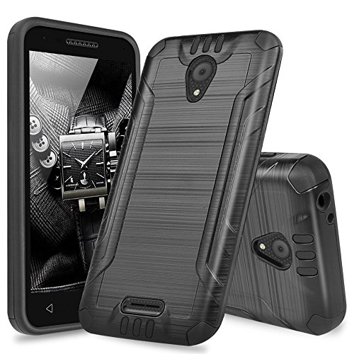 Alcatel Verso Case, Alcatel idealXCITE Case, Alcatel CameoX Case, Alcatel Raven LT Case, TJS Dual Layer Hybrid Shockproof Resist Phone Case Cover Metallic Brush Finish with Hard Inner Layer (Black)