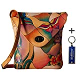 Anna by Anuschka Cross Body Handbag & Key Chain (Tall w Flap Butterfly Glass Painting)