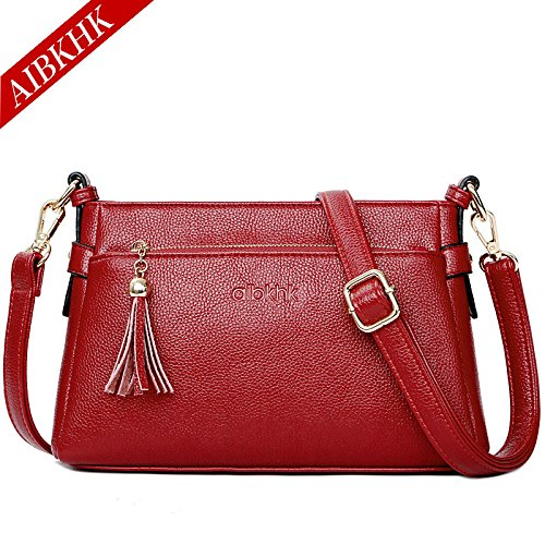 mom GMYAN satchel tassel leather large casual small capacity bag fashion gules New simple bag qUnwU0rtY