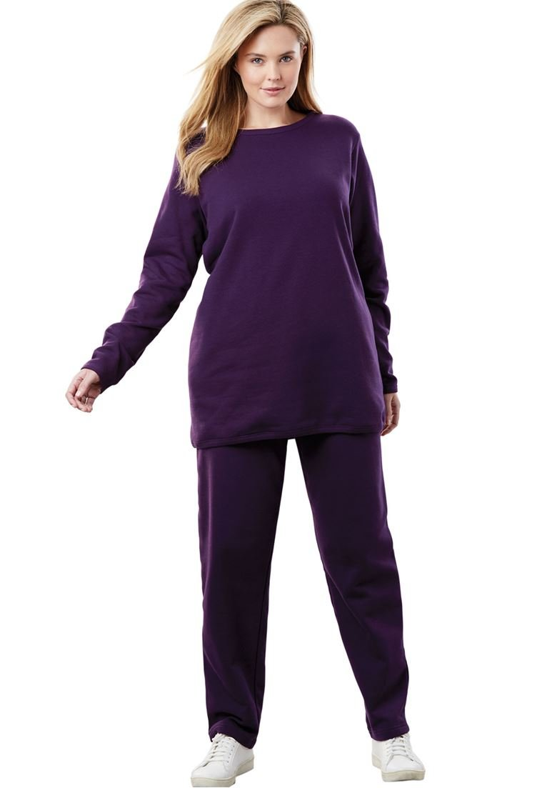Women's Plus Size Petite Fleece 2-Pc Sweatsuit Midnight Plum,2X