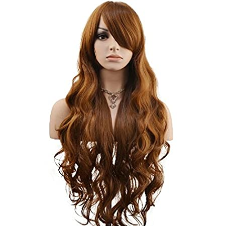 "DAOTS 32"" Cosplay Wigs Long Hair Heat Resistant Curly Wave Hairs for Women (light blonde) 00102"