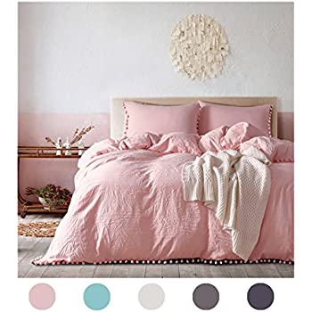 Merveilleux Moreover 3 Pieces Pink Bedding Pink/Peach Duvet Cover Set Ball Fringe  Pattern Pink Girls