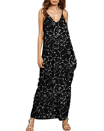 Auxo Women Boho Maxi Dress Floral Sundress Printed V Neck Strappy Long Dresses Cover up 8 Black Star L (Star Strappy)
