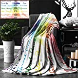 Ralahome Unique Custom Double Sides Print Flannel Blankets Chakra Decor Brushstroke Inspired Lotus Pose Chakra Spots In The Body Faith Ha Super Soft Blanketry Bed Couch, Throw Blanket 60 x 40 Inches
