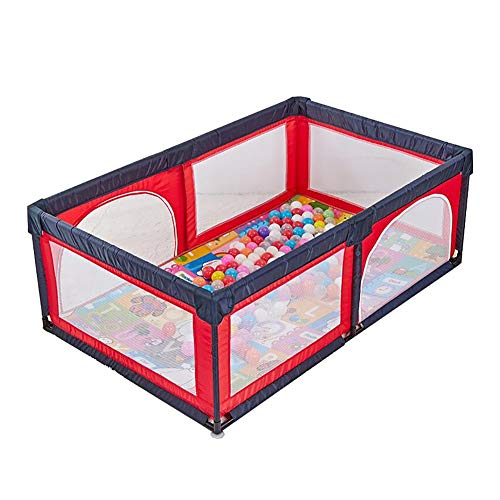 Baby Game Playpen Safety Fence Household Indoor Baby Children Toddler Game Protection Fence Playground, 120×190×70cm (Color : Playpen+mats+100 Balls) (Playground Games 100)