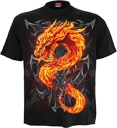 Spiral - Mens - FIRE Dragon - T-Shirt Black - XXL