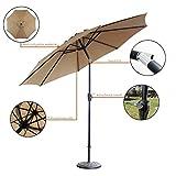 Blissun 9 Patio Umbrella Aluminum Manual Push Button Tilt and Crank Garden Parasol (Tan)