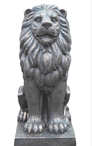 "TIAAN 28"" Lion King Concrete Statues Garden Statue Decor Lion Sculptures Outdoor Indoor Ornament Home Patio Large Figurines"