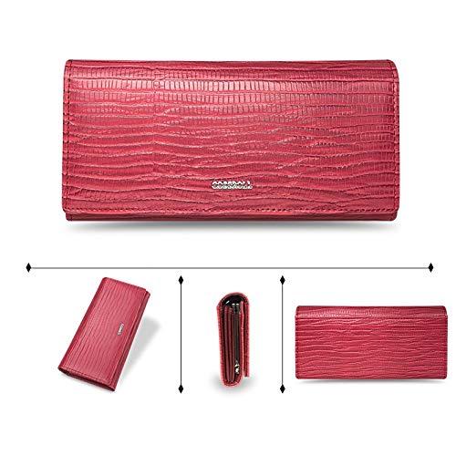 157cb76662f4 WeoHau Fashion Ladies Long Wallet Clutch Bag Zipper Pu Wallet Multi-Card  Position Red