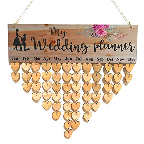 Aimto Wooden Wedding Planner Calendar Board Family Anniversary Birthday Reminder Board with 50 Pieces Blank DIY Wood…