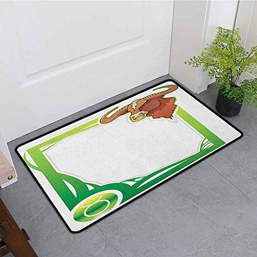 (ONECUTE Non Slip Doormat,Zodiac Taurus Second Sign from The Series of Zodiac Cartoon Style Frame,Super Absorbs Mud,35