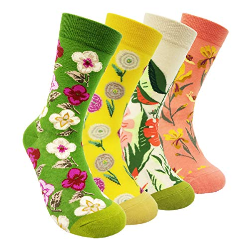 Womens Colorful Dress Crew Socks Flower - HSELL Funky Patterned Casual Cotton Socks(Flowers - 4 Pairs)