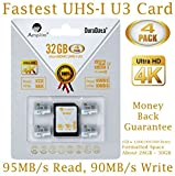 4-Pack 32GB Micro SDHC U3 Card Plus SD Adapter. Amplim Extreme Pro Class 10 UHS-I MicroSDHC 95MB/s Read, 90MB/s Write. Ultra High Speed HD UHD 4K Video. Internal/External MicroSD Flash Memory