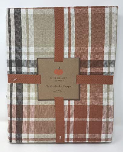 Well Dressed Home 60 x 84 Oblong Orange, Rust, Yellow Autumn Tartan Plaid Check Cotton Fabric Tablecloth