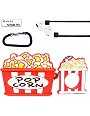 Airpods Pro Case Cover Cute Food Popcorn Silicone 3D Kawaii Funny Novelty Cool Waterproof Protective Carrying Skin with Anti-Lost Strap Carabiner for Girls Women Kids Air pod 3 Wirless Charging Case