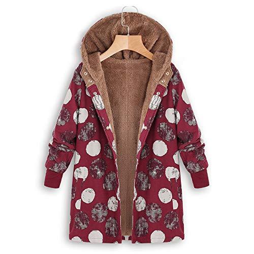 Vintage En Veste Longues À Polaire Hiver Binggong Hasp Plus Imprimées Lâche Dames Manteau Manches Rouge Poches Taille Chaud Épais Grande a Coton Capuche Outwear Femmes Ow8AqzF4