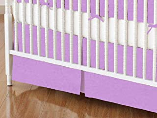 product image for SheetWorld 100% Cotton Percale Crib Skirt 28 x 52, Solid Lilac Woven, Made in USA