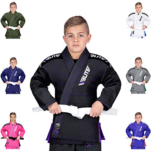 (Elite Sports IBJJF Ultra Light BJJ Brazilian Jiu Jitsu Gi for Kids with Preshrunk Fabric and Free Belt, C1, Black)