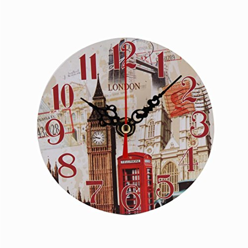 REYO Vintage Wall Clock Style Non-Ticking Silent Antique Wood Wall Clock for Home Kitchen Office (B)