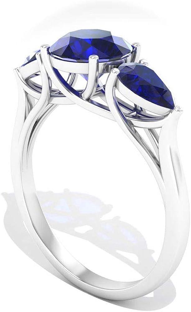 Anillo de compromiso con zafiro azul certificado SGL de 2,60 quilates, forma redonda de pera, tres piedras azules, piedra natal de septiembre, antiguo anillo de regalo