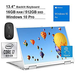 2020 Dell XPS 13 7390 13.4 inch FHD 1200P Touchscreen 2-in-1 Laptop| Intel Core i7-1065G7 up to 3.9GHz| 16GB RAM| 512GB SSD| Backlit KB| FP Reader| Win10 Pro| Silver + NexiGo Wireless Mouse Bundle