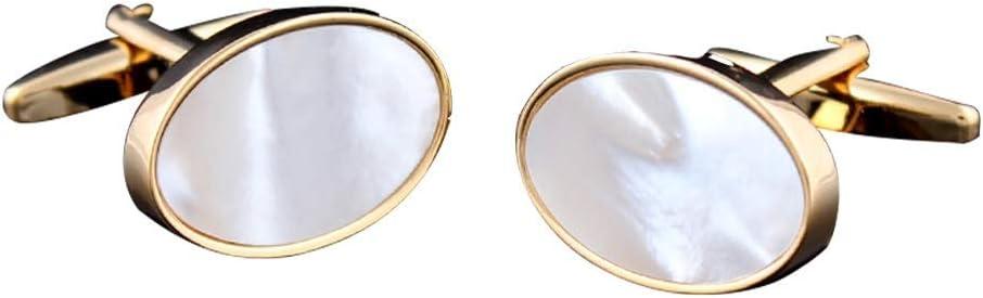 XX Cufflinks XiaoXIAO Gemelos, Gemelos franceses k con Incrustaciones de Oro, Concha Blanca, Camisa de Hombre, puños de Gemelos, Regalos de Boda de Negocios, 19X13mm Gemelos para Hombres: Amazon.es: Hogar