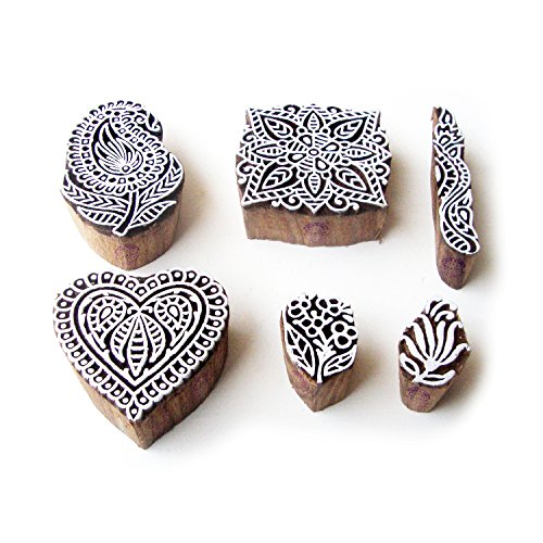 Assorted and Floral Jaipuri Pattern Wooden Blocks for Printing (Set of 6)