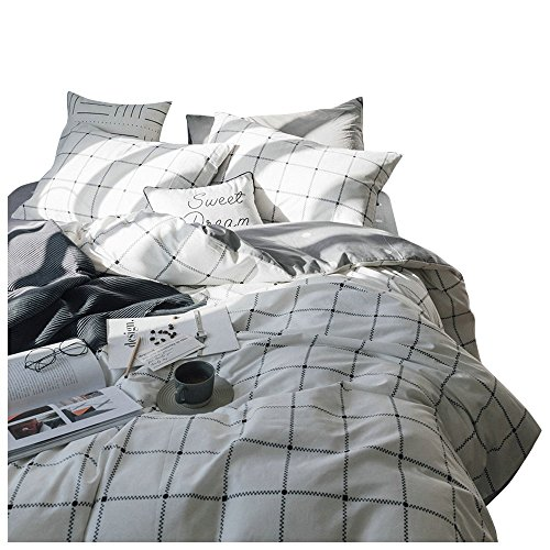 BuLuTu White Grid Print Cotton Full Duvet Cover Sets Reversible Queen Bedding Cover Sets 3 Piece Hidden Zipper Closure 4 Corner Ties Kids Boys Girls -
