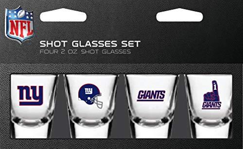 New York Giants Nfl Glass - PSG, NFL New York Giants Shot Glass Set4 Pack Shot Glass Set, Team Colors, One Size