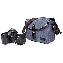 Camera Insert Bag,Canvas Retro Men Shoulder Messenger Bag Fit DSLR SLR with 1 Lens Mirrorless Camera with 2 Lens Blue