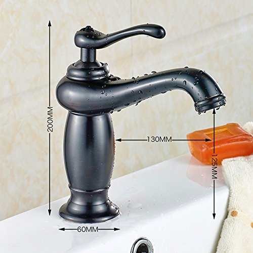 AWXJX European Style Copper Basin Bath Black Pull Out Hot And Cold Water Sanitation Sink Vessel Faucetmixer Taps by AWXJX Sink faucet