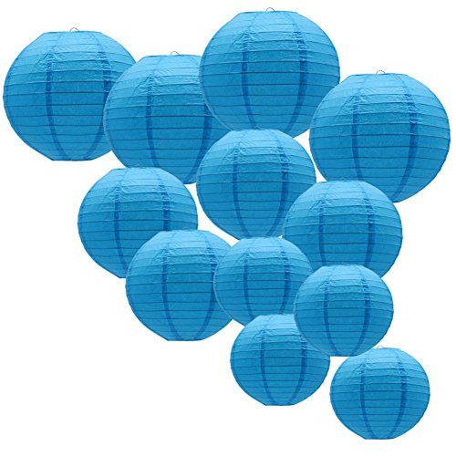 - KAXIXI Round Hanging Paper Lanterns Decorations for Wedding Birthday Baby Showers Graduation Party Supplies, Blue 12'',10'', 8'', 12 Pack