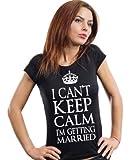 women's fit wedding t-shirt engagement gift t-shirt Keep calm junior fit shirt Medium Black